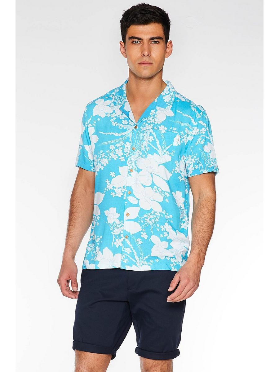 Turquoise Revere Collar Floral Shirt