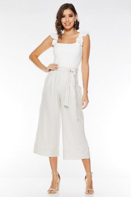 Pantalones Culotte Blancos con Estampado de Rayas