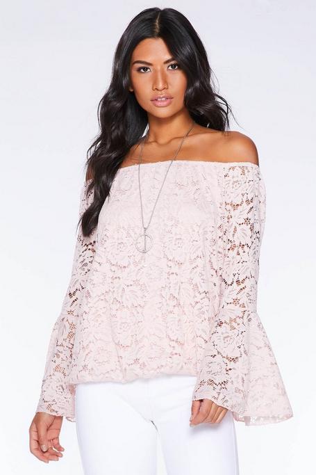 Dusky Pink Bardot Frill Sleeve Top