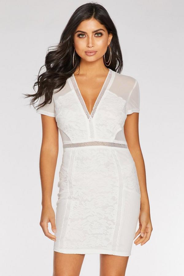Vestido Corto Blanco con Encaje y Manga Corta