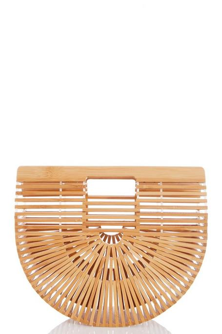 Brown Wooden Basket Bag