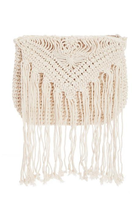 Cream Crochet Tassel Bag