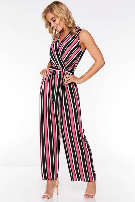 Pink And Black Stripe Wrap Jumpsuit
