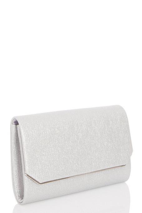 Silver Cut Off Corner Clutch Bag