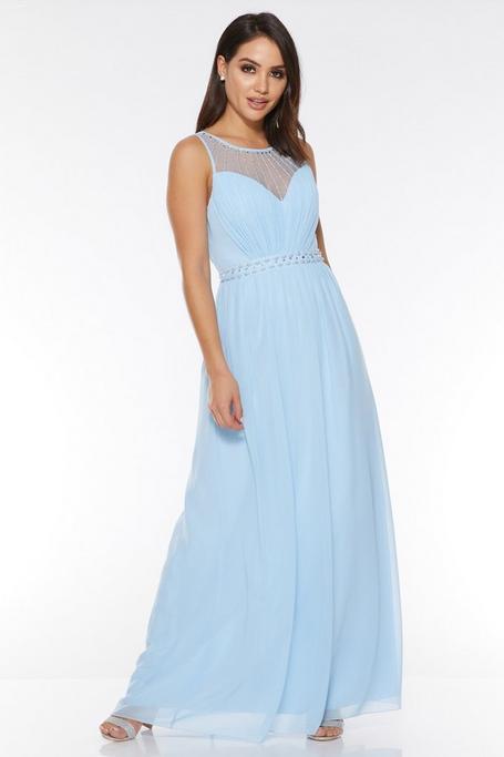 Vestido Largo de Gasa Azul con Detalles