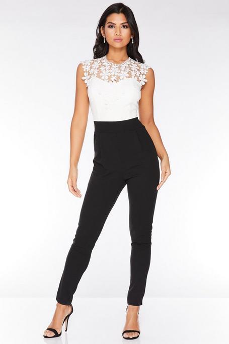 Cream And Black Lace Jumpsuit