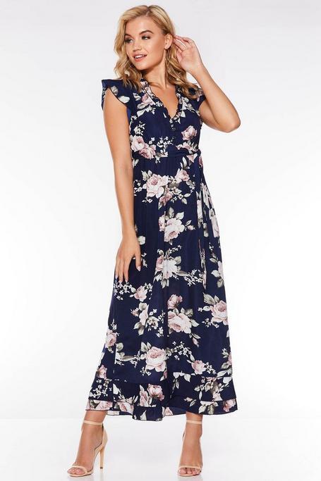 Vestido Largo Floral Azul Marino y Rosa
