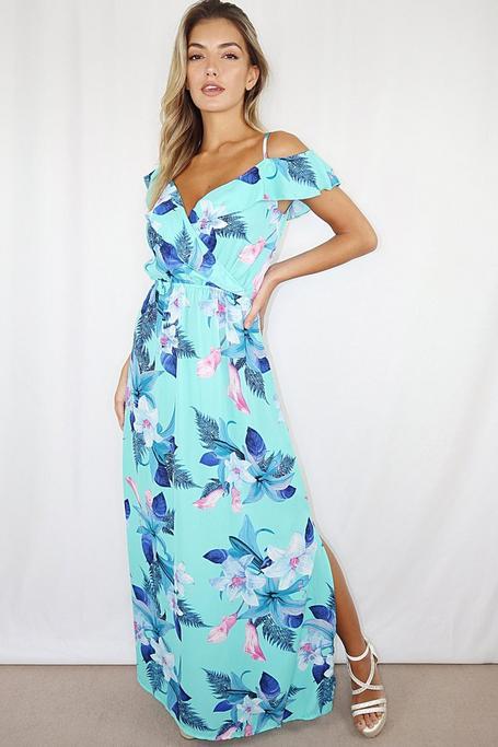 Vestido Largo Azul Floral con Hombros Descubiertos