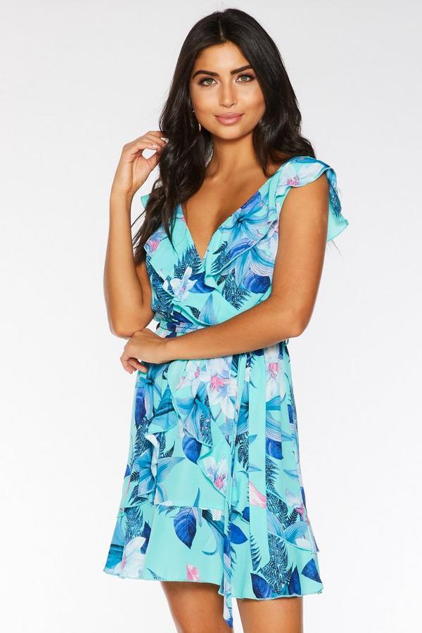 Vestido Corto Floral Azul y Rosa