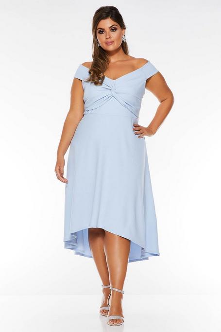 Vestido Curve Azul Claro con Escote Bardot