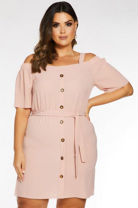 Plus Size Pink Cold Shoulder Button Front Tunic Dress