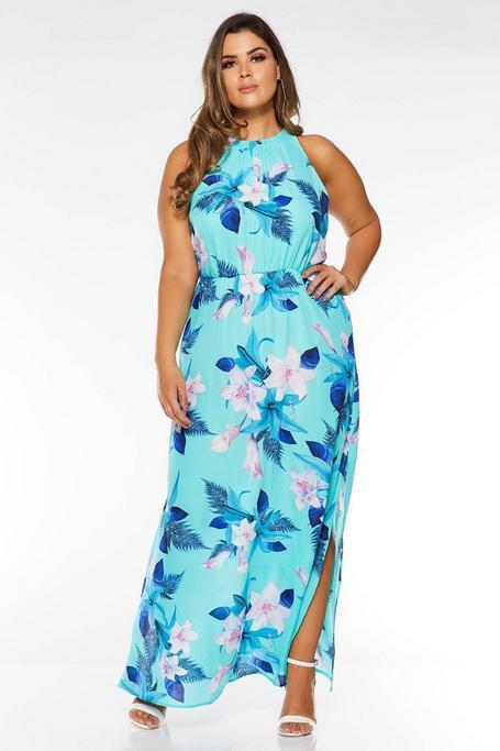 Vestido Curve Largo Turquesa con Estampado Floral