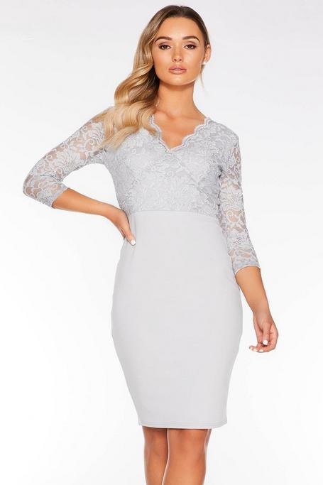 Gray Glitter Lace V Neck Midi Dress