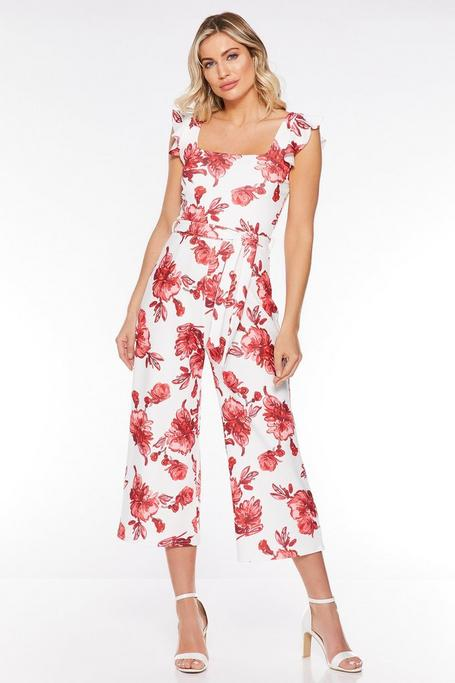 White And Red Floral Culotte Jumpsuit