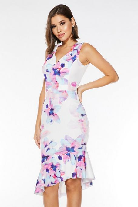 Cream Blue and Pink Floral Print Midi Dress