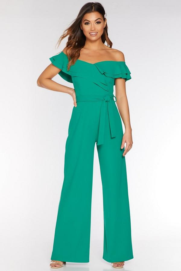 Jade Green Off The Shoulder Double Frill Palazzo Jumpsuit