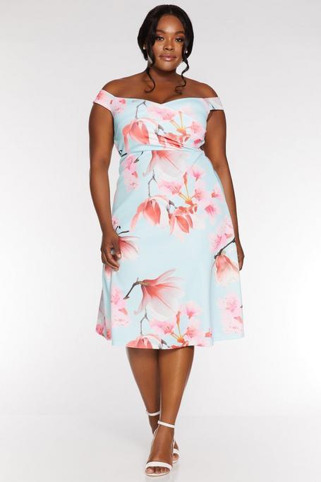 Vestido Curve Floral Azul y Rosa con Escote Bardot