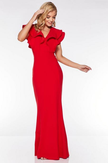 Vestido Largo Rojo con Volantes