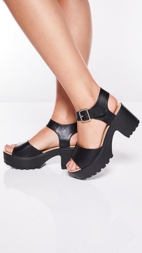 Sandalias Negras con Tacón Grueso