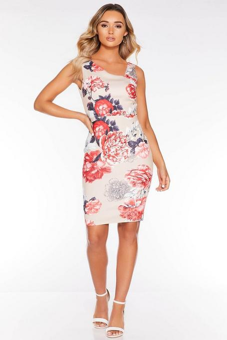 Vestido Midi Floral Beis y Rojo con Escote Asimétrico