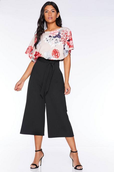 Stone and Red Floral Batwing Culotte Jumpsuit