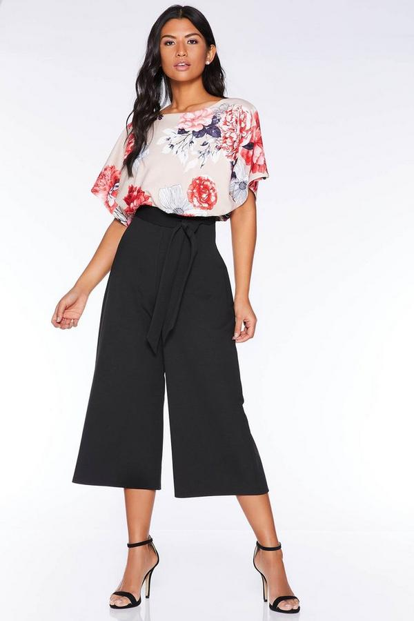 Mono Culotte Negro y Beis Floral con Manga Corta