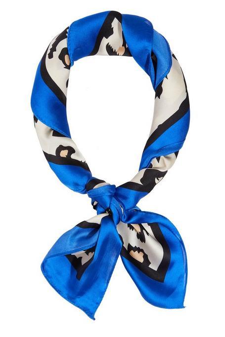 Pañoleta Azul con Estampado de Leopardo