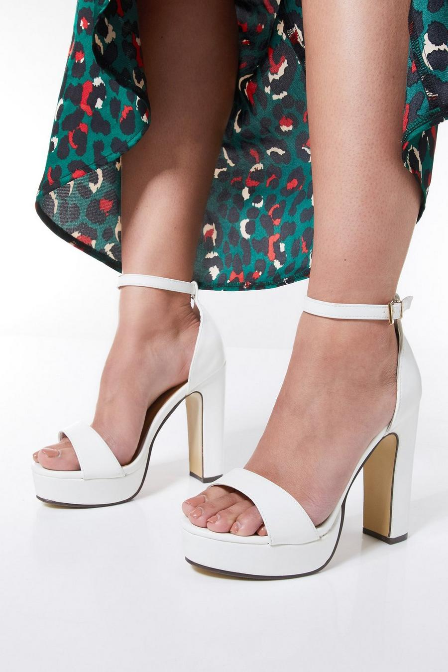 newest collection official differently Wide Fit White Block Heel Sandals