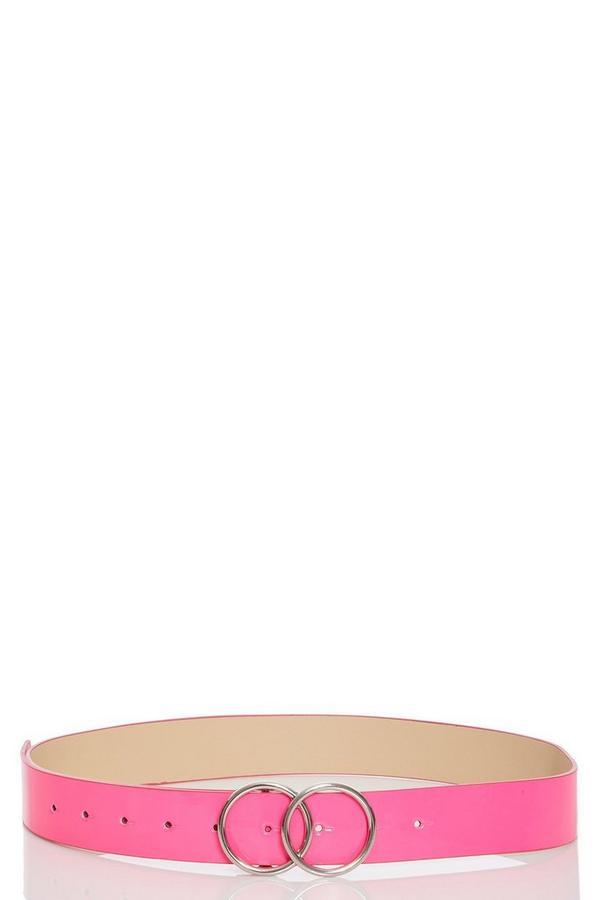 Cinturón Rosa Neón con Hebilla de Doble Círculo