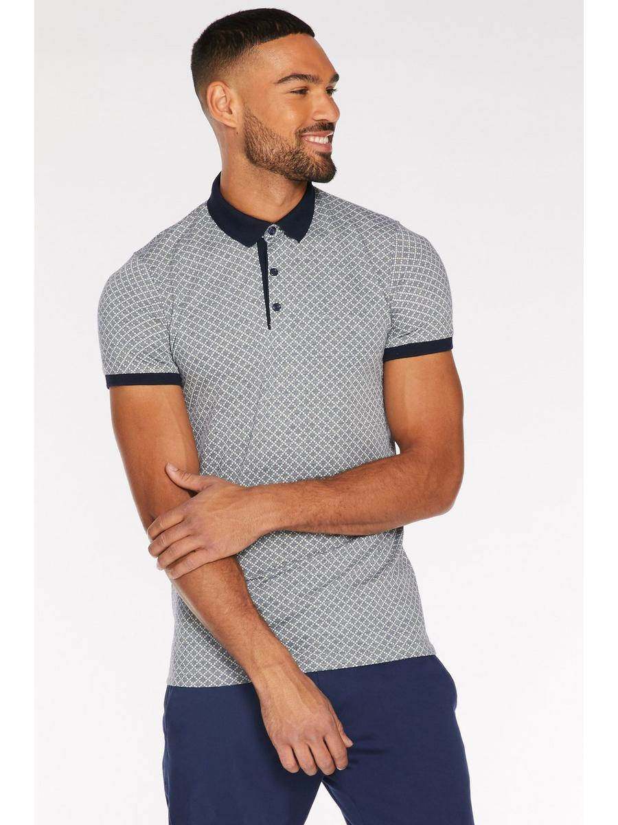 Printed Polo with Contrast Collar and Piping in Grey