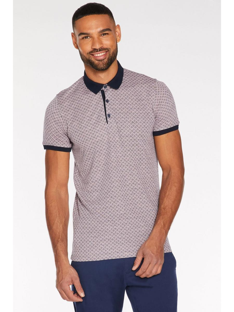 Printed Polo with Contrast Collar and Piping in Pink