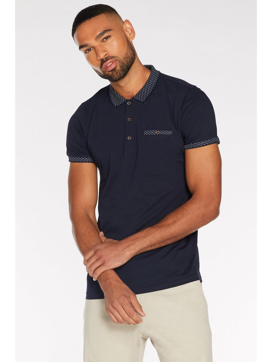 Contrast Collar and Sleeve Polo in Navy