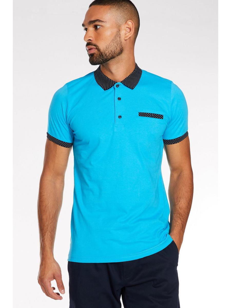 Contrast Collar and Sleeve Polo in Blue