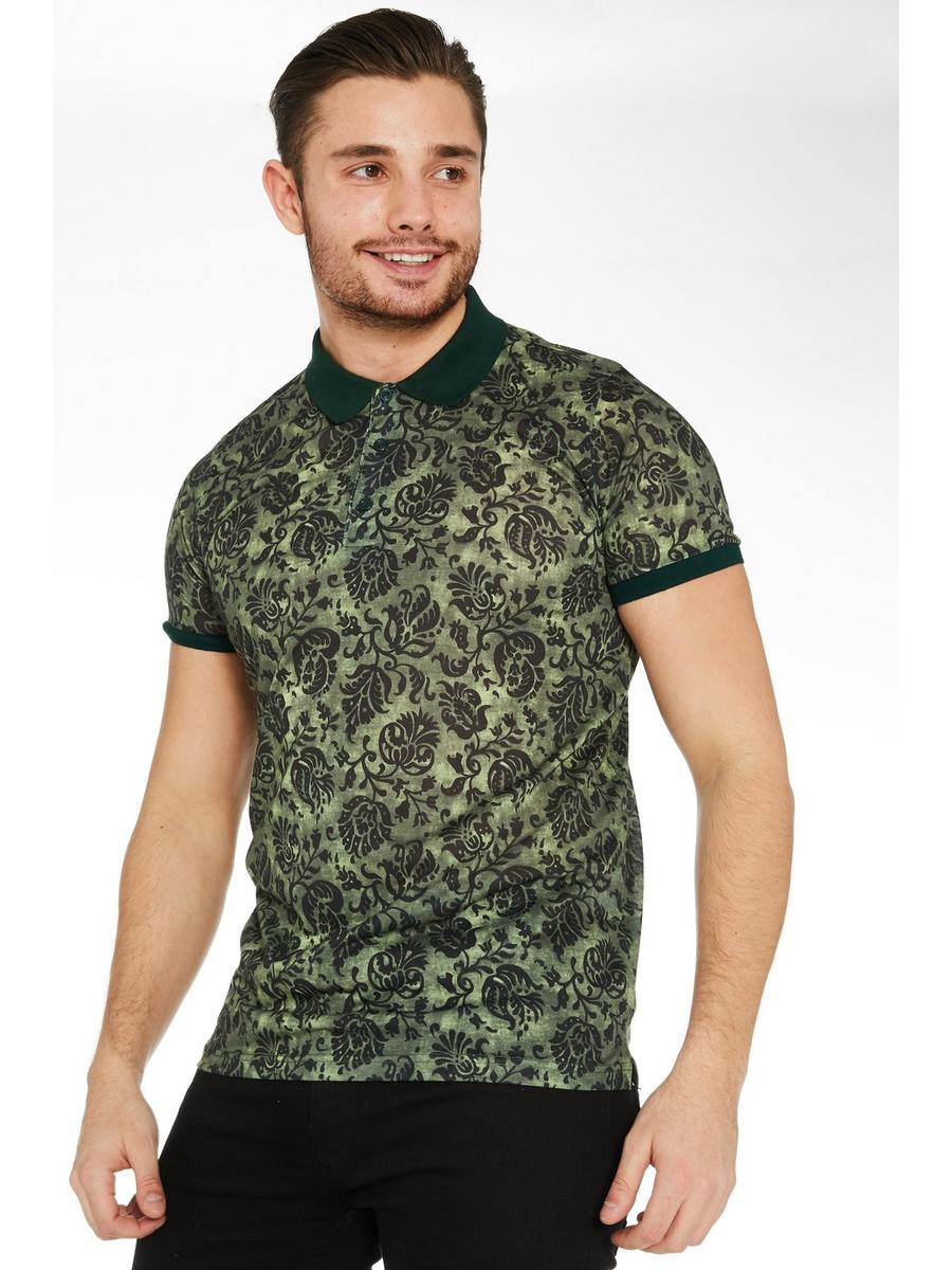 Floral Polo Shirt with Contrast Collar & Sleeves in Green