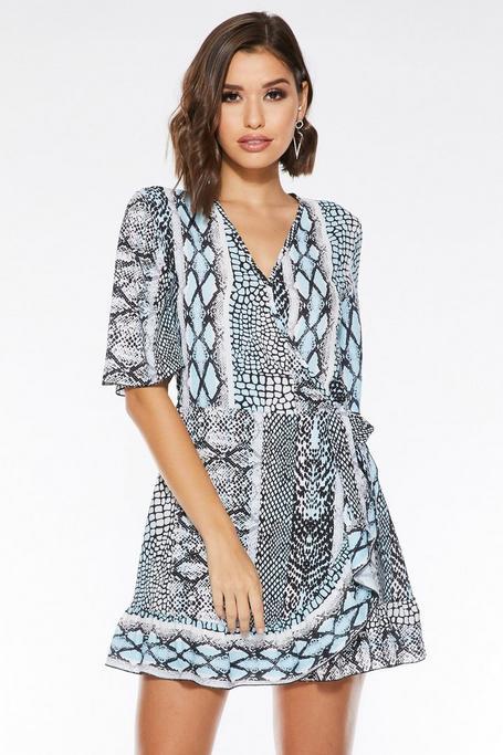 Blue And Cream Snake Print Wrap Dress