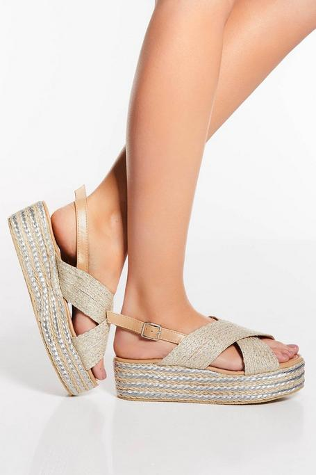 Silver and Nude Cross Strap Flatforms