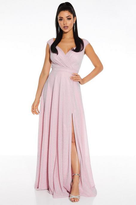 Blush Pink Glitter Wrap Sleeveless Maxi Dress