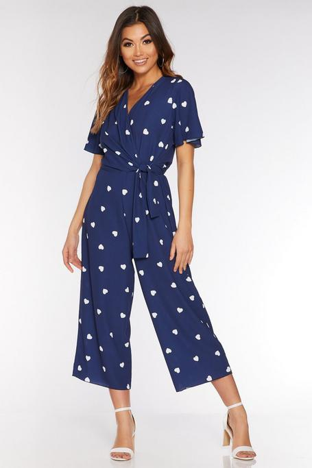 Navy and Cream Heart Print Culotte Jumpsuit