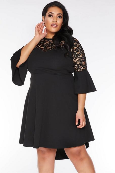 Plus Size Black Lace 3/4 Sleeve Dip Hem Dress