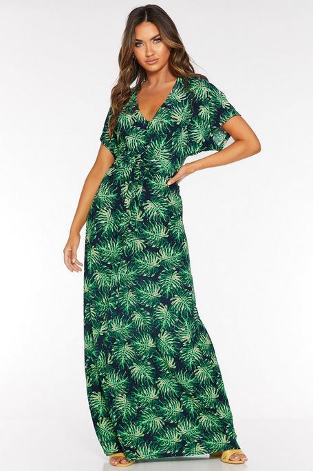 Vestido Largo Verde y Azul Marino