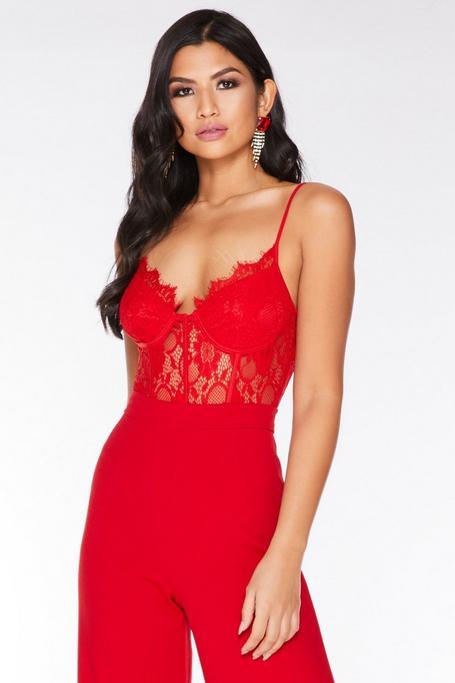 Red Lace Corset Detail Bodysuit