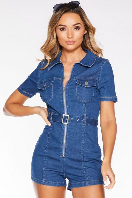 Blue Denim Short Sleeve Zip Front Romper