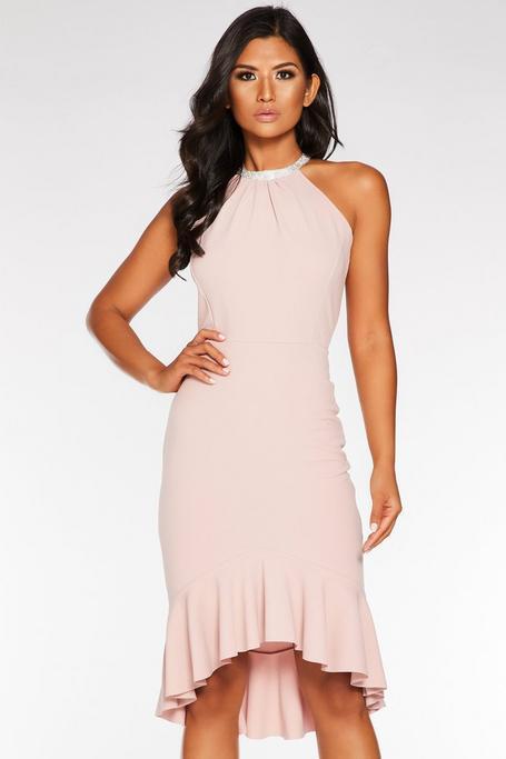 Pale Pink Diamante Neck Midi Dress