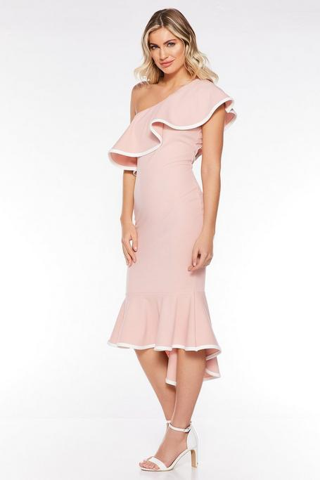 Pale Pink Asymmetrical One Shoulder Dress