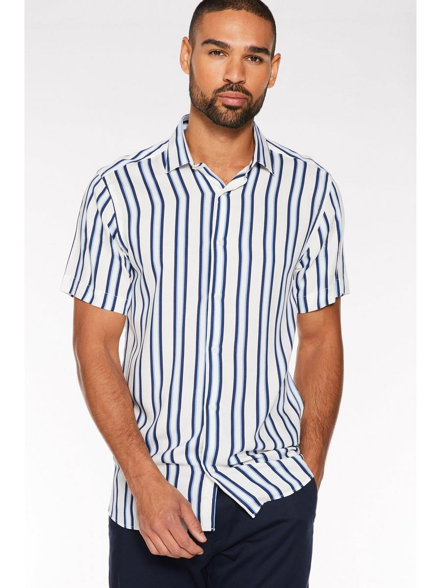 Short Sleeve Pinstripe Shirt in White