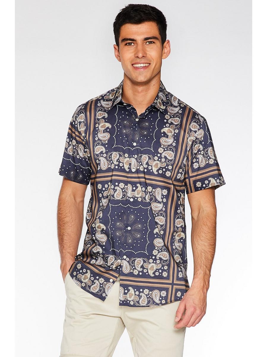 Short Sleeve Block Paisley Print Shirt