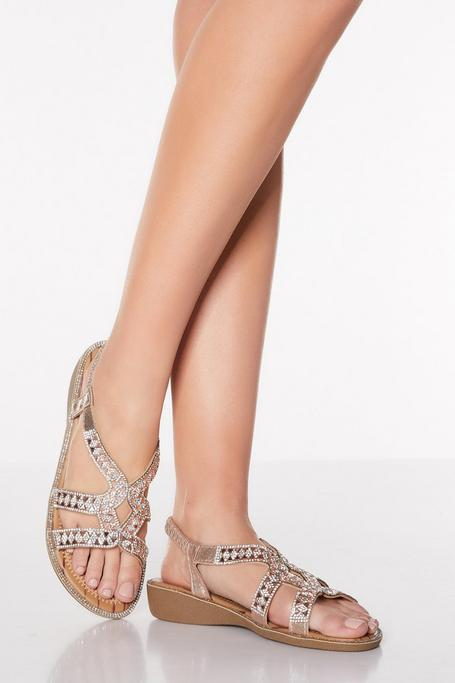 Comfort Rose Gold Diamante Strappy Low Wedges