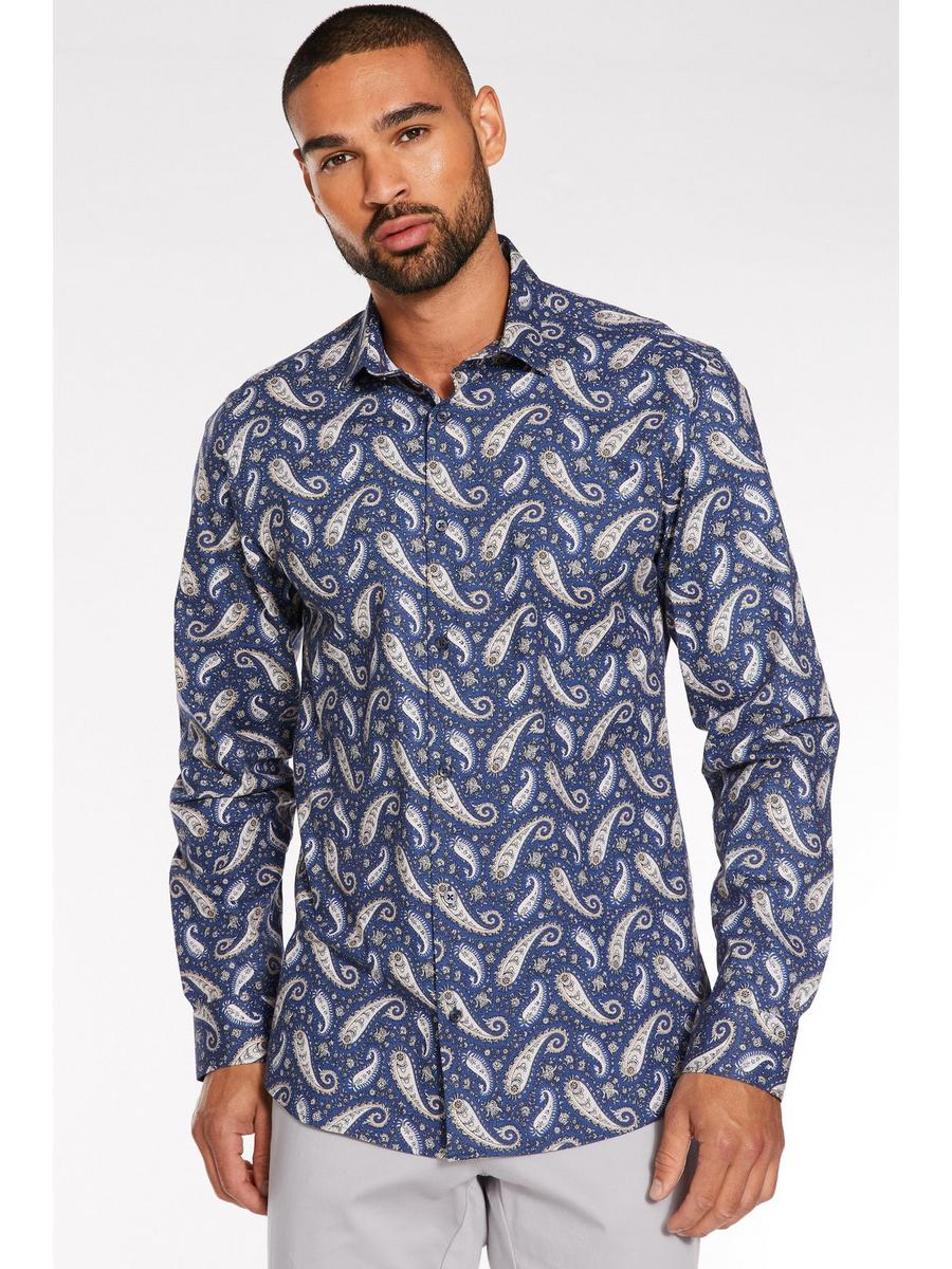 Slim Fit Paisley Print Design Shirt