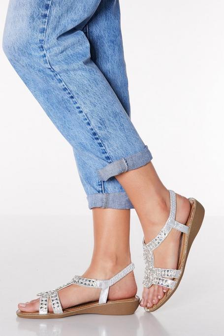 Comfort Silver Diamante Strappy Low Heel Wedges