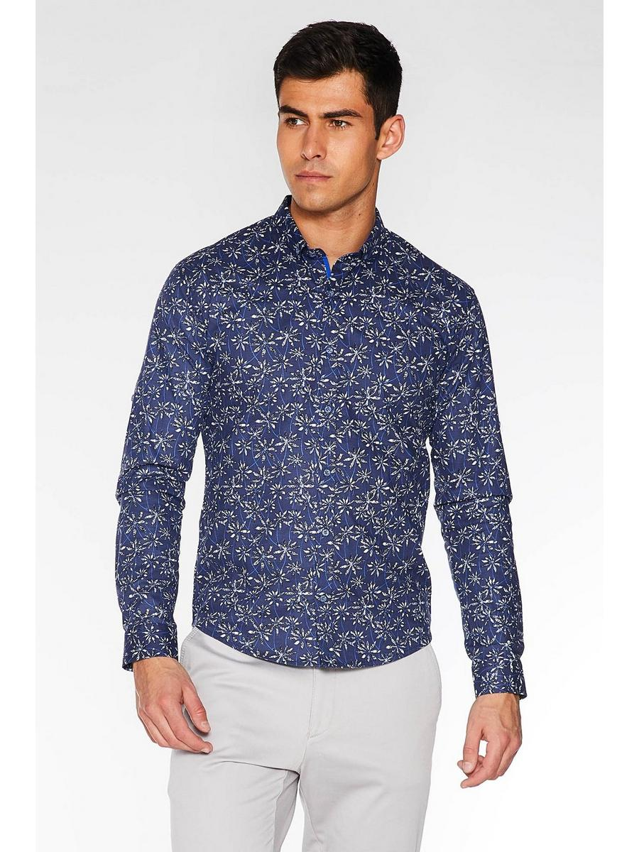 Navy Long Sleeve Floral Print Shirt